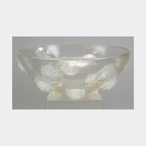 R. Lalique Molded Opalescent Glass Tournon Bowl
