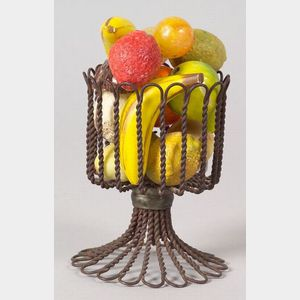 Miniature Wirework Compote with Miniature Stone Fruit