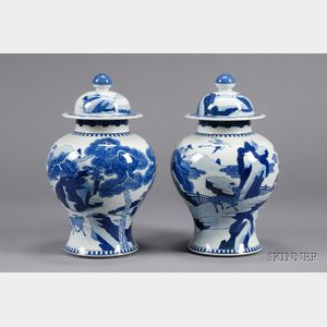 Pair of Blue and White Porcelain Jars and Covers