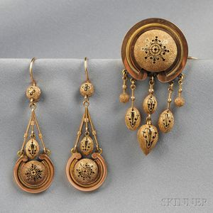 Antique Gold and Enamel Suite, Retailed by Tiffany & Co.