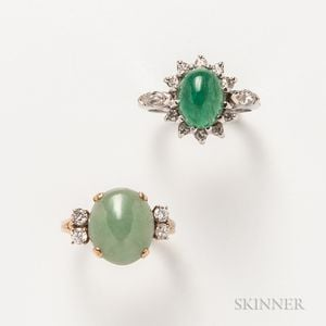 14kt White Gold, Emerald, and Diamond Ring and a 14kt Gold, Jadeite, and Diamond Ring