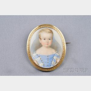 Antique Portrait Miniature Brooch