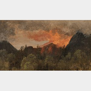 Albert Bierstadt (American, 1830-1902)      White Mountain View with Red Glow of Fire or Reflected Light