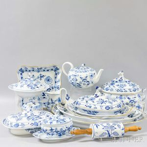 Extensive Assembled Set of Mostly Meissen Blue Onion and Blue Danube Ceramic Dinnerware.