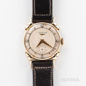 """Longines """"Fancy Lug"""" 14kt Gold Wristwatch"""