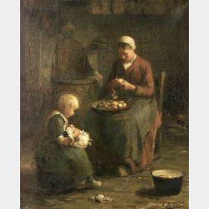 Evert Pieters (Dutch, 1856-1932)  Peeling Potatoes
