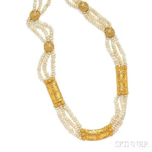 18kt Gold and Baroque Freshwater Pearl Necklace, Van Cleef & Arpels