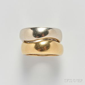 Pair of 18kt Gold Interlocking Bands, Cartier