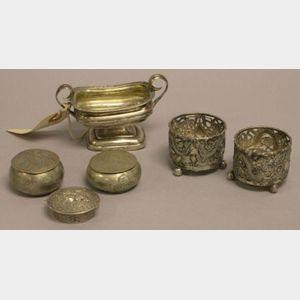 Three Small Silver Boxes and Three Silver Salts