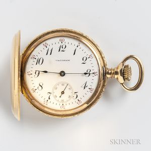 Waltham 14kt Gold Lady's Hunter Case Watch