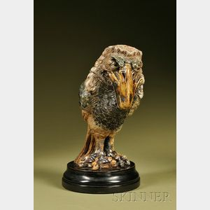 """Sold for: $82,950 - Martin Brothers Glazed Stoneware Barrister """"Wally-Bird"""" Tobacco Jar and Cover"""