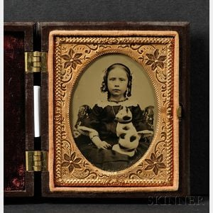 Ninth Plate Ambrotype Portrait of a Young Girl Holding a Chalkware Cat