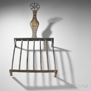 Cast Iron Broiler with Brass and Copper Inlay