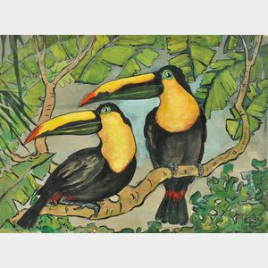 Jane Peterson (American, 1876-1965)      Twin Macaws
