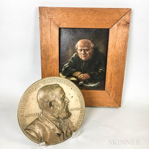 Framed Oil on Board of a Monk and a Bronze Portrait Plaque