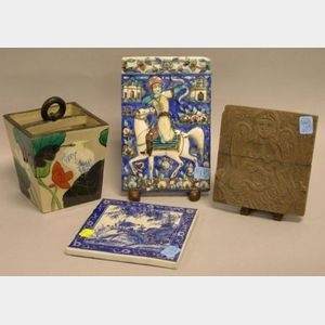 Persian Faience Plaque, a Chinese Pottery Square Vase and Blue and White Plaque, and a Carved Wood Plaque of an Angel.