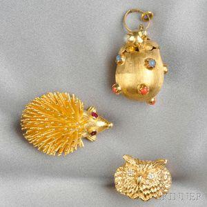 Three Figural Jewelry Items