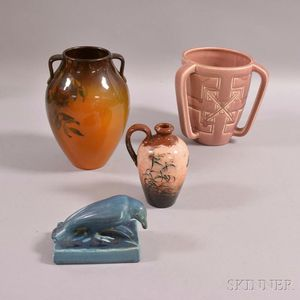 Three Rookwood Pottery Items and a Rockwood Pottery Vase
