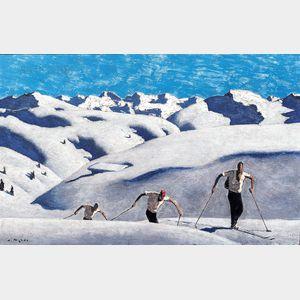Sold for: $612,500 - Alfons Walde (Austrian, 1891-1958)      Aufstieg der Schifahrer