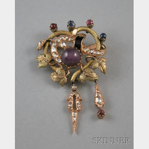 14kt Bicolor Gold Gem-set Brooch