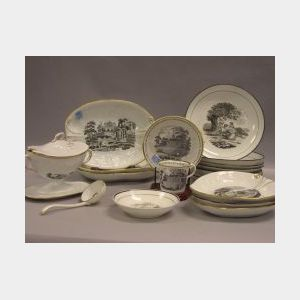 Seventeen Pieces of New Hall Landscape Transfer Decorated Ceramic Tableware