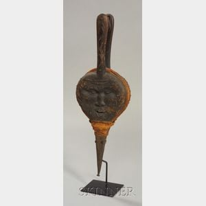 North Wind Face-Carved Wood, Iron, and Leather Bellows