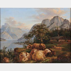 Karl Friedrich Thiele (German, 1780-1836)      Goats, Sheep, and Rams in Mountainous Landscape