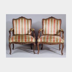 Pair of Louis XV Style Beechwood Fauteuil a la Reine