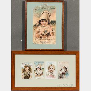 Five Framed A.J. White Lithographic Shaker Medicine Labels