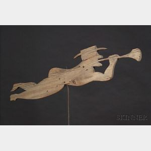 Wooden Trumpeter Weather Vane