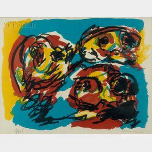 Karel Appel (Dutch, 1921-2006)    Untitled (Three Faces).