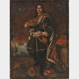 Continental School, 18th Century Style      Standing Portrait of Peter the Great.