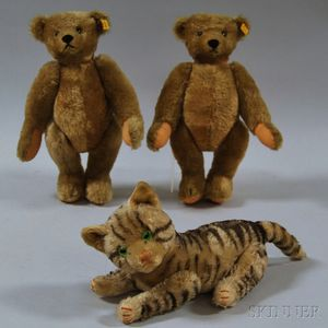 Three Steiff Plush Mohair Animals