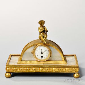 Gilt-metal and Mother-of-pearl Desk Clock