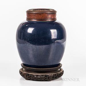 Powder Blue and Gilt Jar