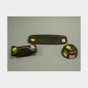 Three Roycroft Hammered Copper Desk Items.