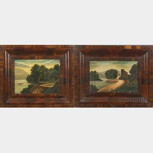 American School, 19th Century    Pair of Hudson River Landscapes.