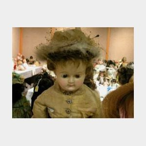 Large Wax over Papier-mache Shoulder Head Doll