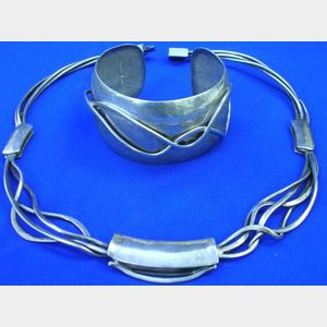 Contemporary Sterling Silver Necklace and Cuff Bracelet, V. Ferrini. .