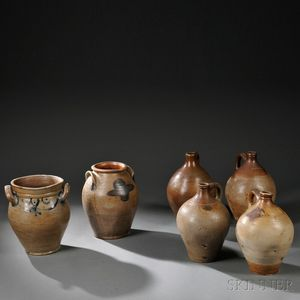 Four Salt-glazed Stoneware Jugs and Two Crocks