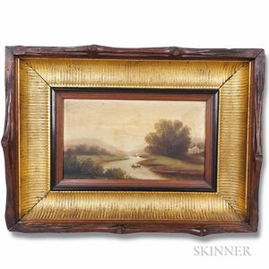 American School, 19th Century       River Scene with Rowboat