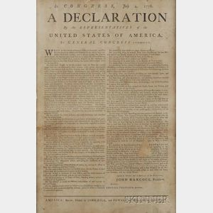 Sold for: $693,500 - Rare and Historically Important Contemporary Broadside Printing of the Declaration   of Independence