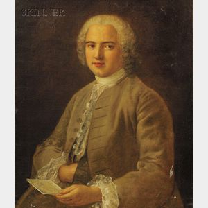 French School, 18th Century Style      Portrait of a Gentleman in a Gold Coat Holding a Letter