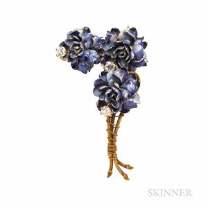 Antique Tiffany & Co. Gold, Enamel, and Diamond Flower Brooch