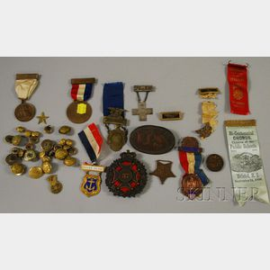 Group of Mostly U.S. Military, Political, and Collectible Medals, Buttons, and   Badges