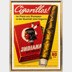 Large Indiana Cigarillos Advertising Poster
