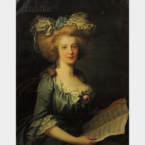 French School, 18th Century Style      Portrait of an Elegant Lady in a Blue Gown Holding Sheet Music