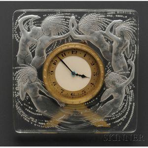 "Molded Glass ""Naiades"" Desk Clock, Lalique"