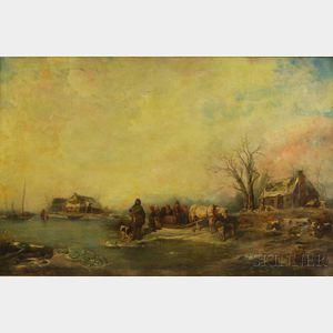 Jean Arnould Heyermans (Belgian, 1837-1892)      Winter Scene by the River