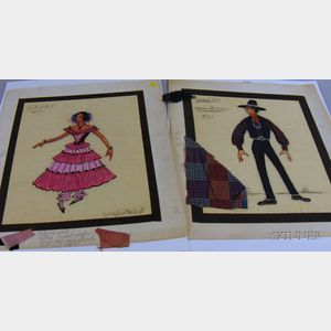 Fifteen Unframed 1950s-60s Broadway Costume Designs